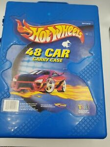 2001-Mattel-Hot-Wheels-48-Car-Carry-Case-20020-Box-in-Blue-with-assorted-cars