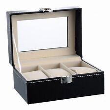 Schwarz Uhrenbox Uhrenkasten Uhrenkoffer Uhrenschatulle Uhrentruhe 3 Uhren