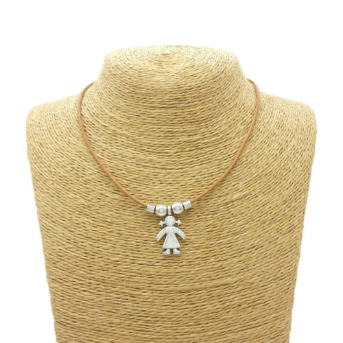 New Silver Kids Boy Girl Family Charms Pendant Necklace Chain Fashion Jewelry S