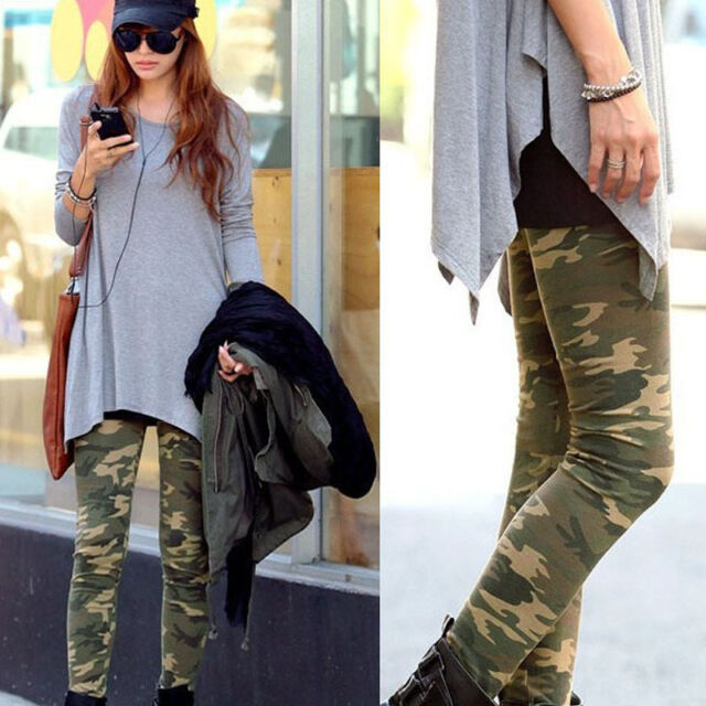 HOT SEXY WOMENS SKINNY CAMOUFLAGE PUNK FUNKY LEGGINGS STRETCHY PENCIL PANTS