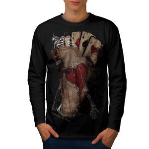 Wellcoda-Poker-Gamble-Squelette-Homme-T-shirt-a-manches-longues-effrayant-design-graphique