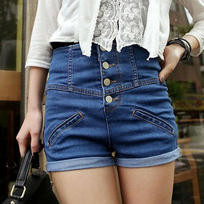 Womens Girl Denim High Waist Lady Shorts Jeans Pants Vintage Cuffed Excellent