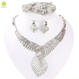 Details About Wedding Hollow Crystal Necklace Sets Silver Plated African Costume Jewelry