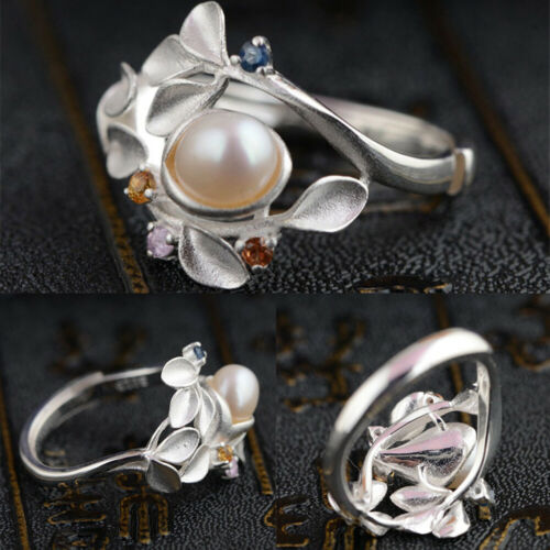 Women Pearl Vintage Rings Elegant Engagement Finger Ring Party Jewelry Lady Gift