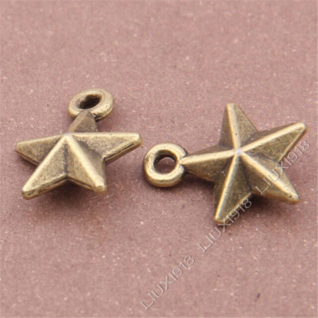 20pc Stereoscopic Pentagram Pendant Charms Dangle Findings Antique Bronze S316T