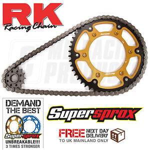 Suzuki RM125 Gold Renthal R3 Oring Chain And Supersprox Stealth Sprocket Kit