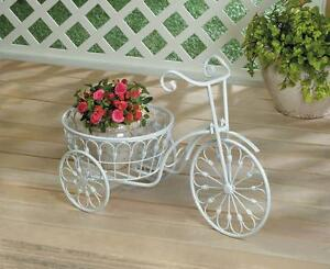 White bicycle planter pot stand display indoor or outside decor 10018026 ebay - Bicycle planter stand ...