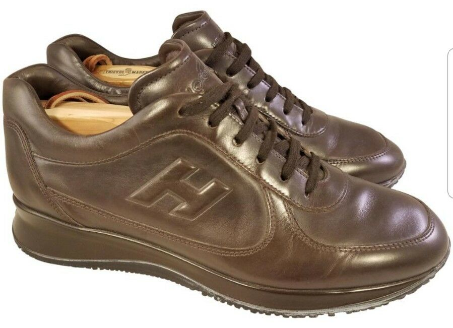 GENUINE LEATHER SHOES SNEAKERS HOGAN  BY TODS BROWN COLOR SIZE 6.5  USA SIZE 7.5