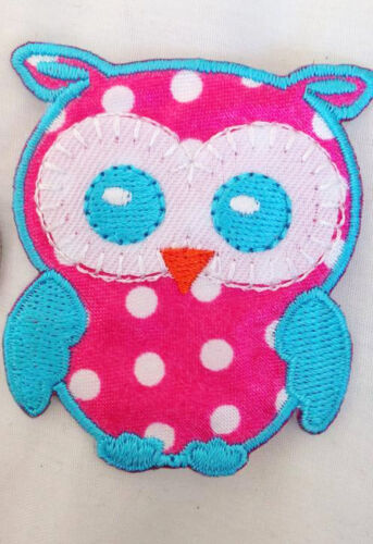 Polka Dot OWL Embroidered Iron-On Sew-On Patch Badge Patch Motif Applique Bag
