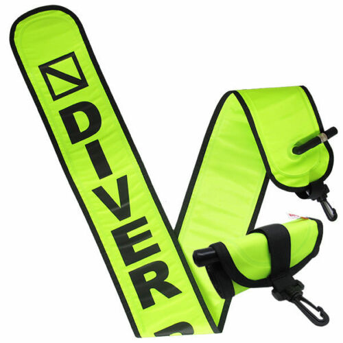 Scuba Diving 4ft Neon Yellow Surface Marker Signal Tube w// Plastic Clip