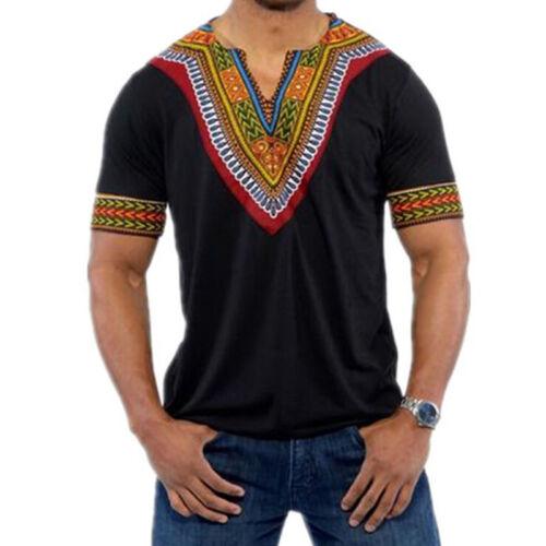 Men Hipster Tee Hip Hop Casual Ethnic Crew Neck T Shirt Short Sleeve Loose Tops