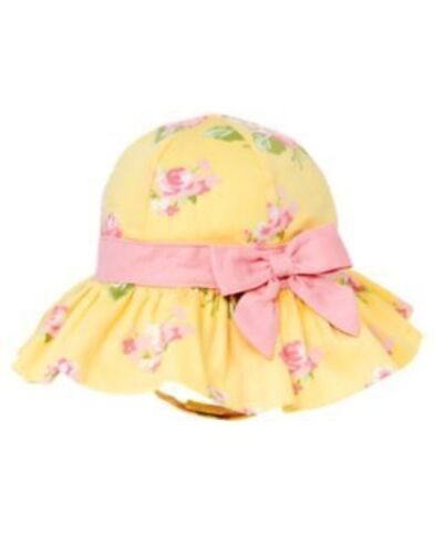 GYMBOREE PETITE PEDALS YELLOW FLOWER /& PINK BOW SUN BUCKET HAT 0 3 6 12 18 NWT