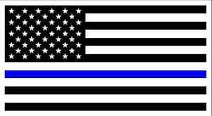 POLICE-MEMORIAL-Thin-Blue-Line-American-Flag-Vinyl-Bumper-Sticker-3-75-034-x-7-5-034