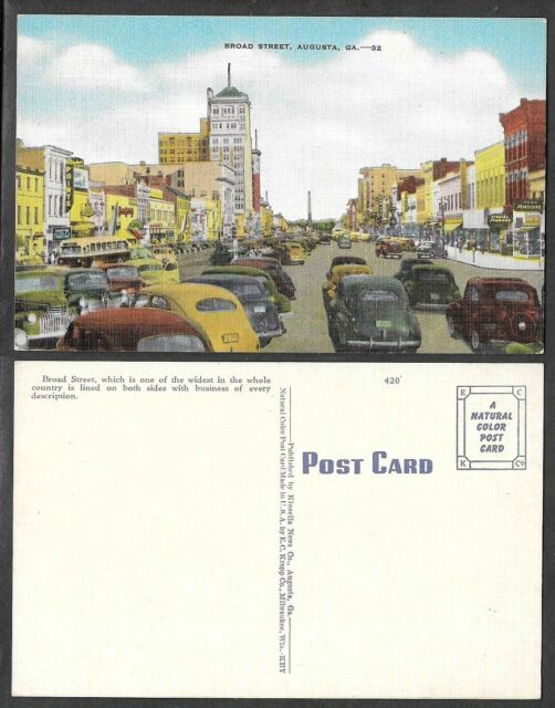 Old Georgia Postcard - Augusta - Broad Street Scene