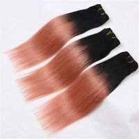 Luxury Brazilian Pink Rose Gold Ombre Straight Virgin Human Hair Extensions