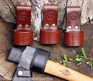 hand made 3 5mm brown leather axe holder belt loop two sizes