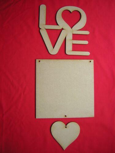 MDF LOVE PLAQUE 20cm x 20cm LASER CUT