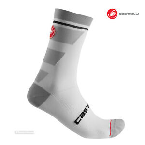 WHITE Castelli PRO 12 cm Tall Cuff Cycling Socks One Pair