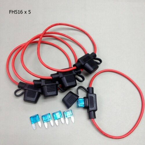 15A Fuse #gtc 5 x FH516 Car Inline AWG 16 Ga Mini Blade Fuse Holder