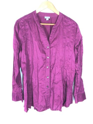 J. Jill Wine Colored Pleated Blouse, Size L