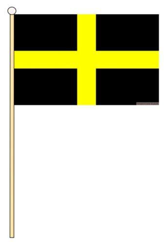 "ST DAVIDS CROSS WALES WELSH 18/"" x 12/"" LARGE HAND WAVING COURTESY FLAG /& POLE"