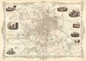 Vintage Antique Leeds England UK decorative map Tallis ca. 1851