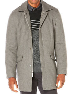 f2484088dd5 NEW MENS PERRY ELLIS PRINCIPLES WOOL BLEND LIGHT GREY OVER COAT M ...