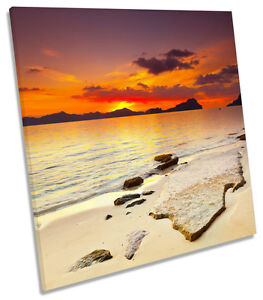 Orange-Sunset-Beach-Island-CANVAS-WALL-ART-SQUARE-Picture-Print