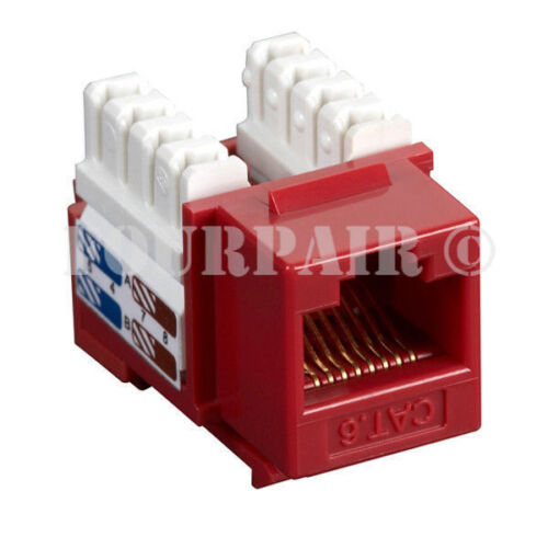 Red 3 Pack Lot CAT6 Network RJ45 110 Punch Down Keystone Snap-In Jack