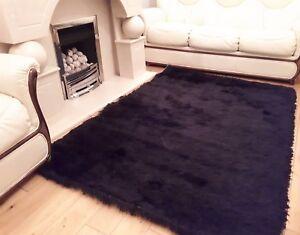 Details zu Silky Soft Modern Luxury Home Floor Rug Mat Living Room Bedroom  Flooring Black
