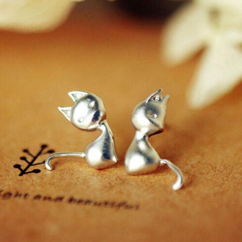 Charm Cadeaux Femmes Fashion Animal Mignon Mini Chat Boucles d/'oreilles 1 paire Plaqué Argent