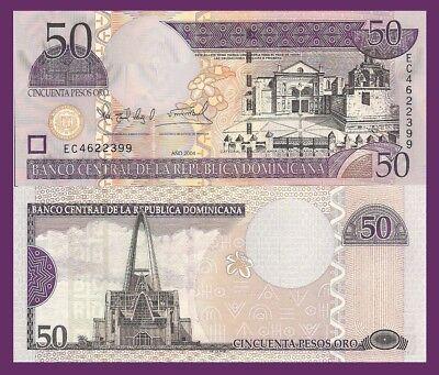 50 Pesos Dominican Republic P170d Santa Maria Cathedral // Basilica UNC $8 CV
