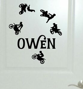 Image Is Loading Small Set Of 5 Dirt Bike Wall Sticker  Part 59