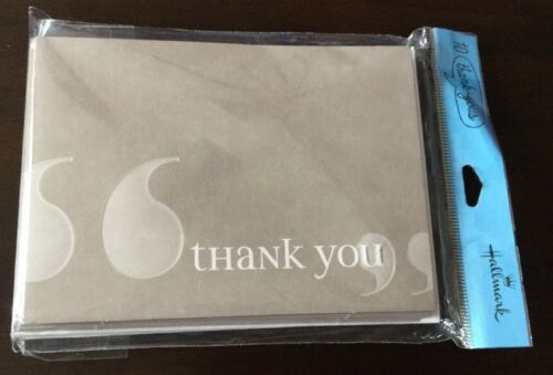 Hallmark Thank You Cards 10 Count Blank Stationery Greys with White