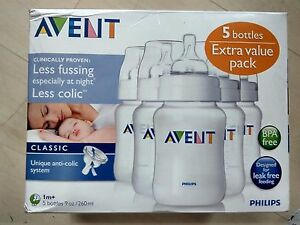 Brand-New-Philips-Avent-Classic-Bottles-9-Ounce-5-bottles
