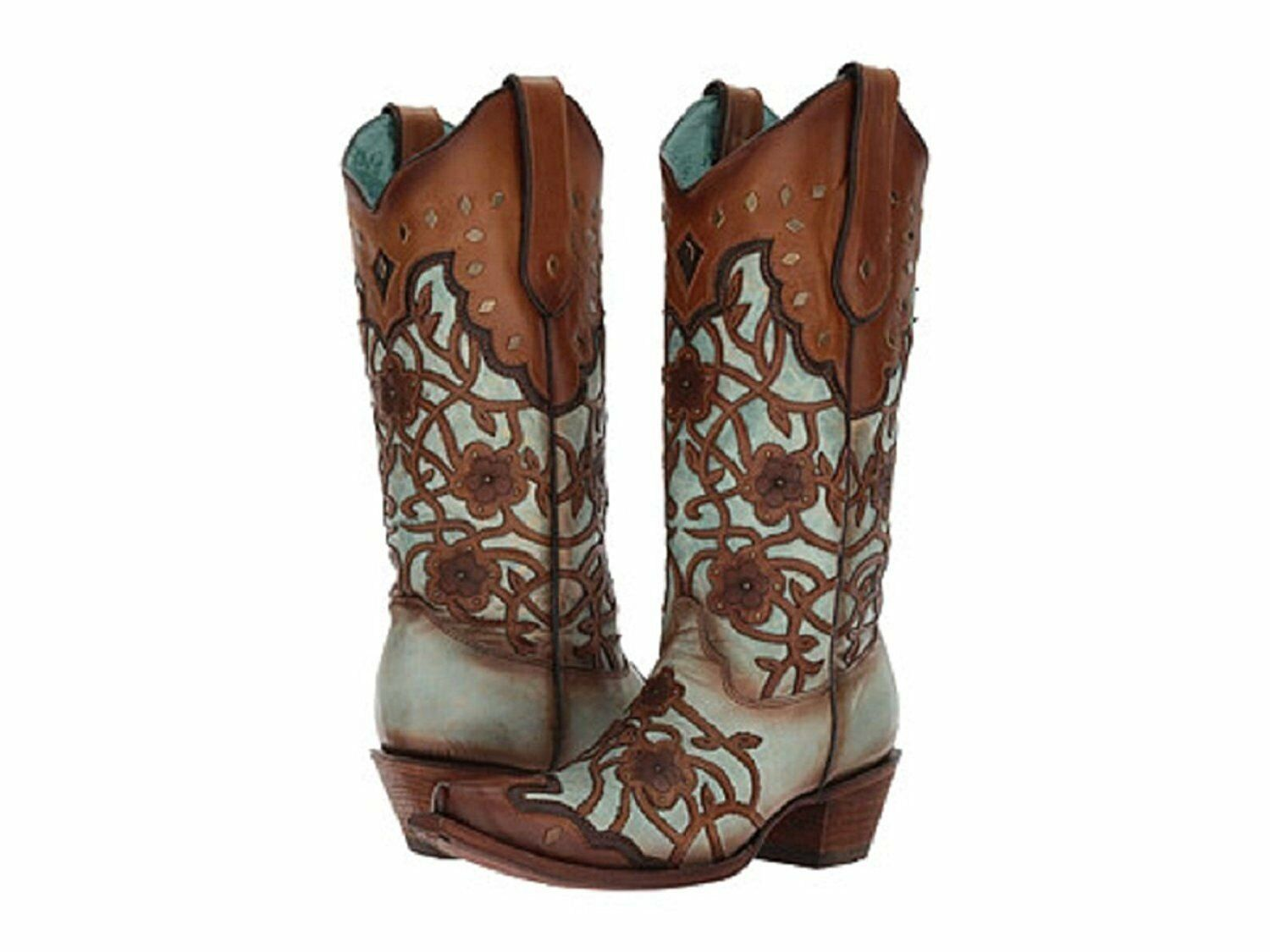 Corral Boots Womens Mint Maple Flower Overlay C3176