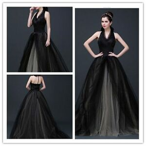 Black-Halter-Wedding-Dress-Ball-Gowns-Train-Evening-Dress-Prom-Dress-Custom-Made