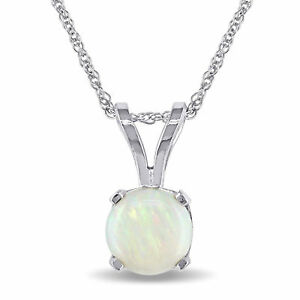 Amour 14k White Gold Opal Solitaire Necklace
