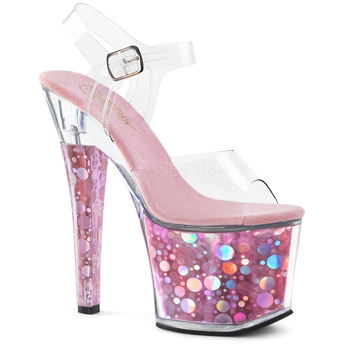 SALE PLEASER Sexy 7  Heel Pink Holographic Platform Stripper Clear Sandal shoes