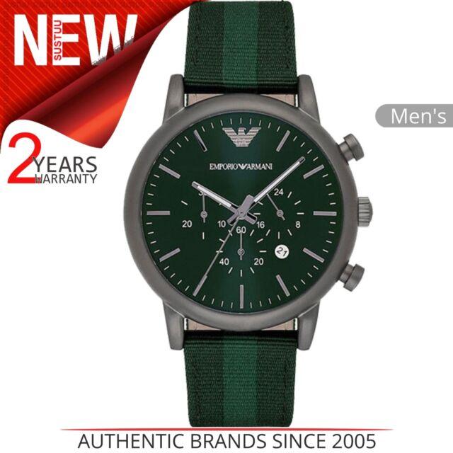 Emporio Armani Luigi Men's Watch│Chrono Green Dial│Leather & Nylon Strap│AR1950