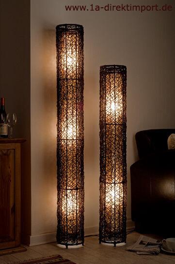 Extra hohe Stehlampe Stehleuchte Rattanlampe Lampe mit Rattan Stoff Leder, neu