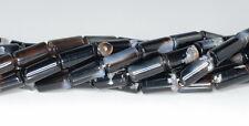 "12X6MM BLACK AGATE GEMSTONE MULTITONAL ROUND TUBE LOOSE BEADS 15.5"""