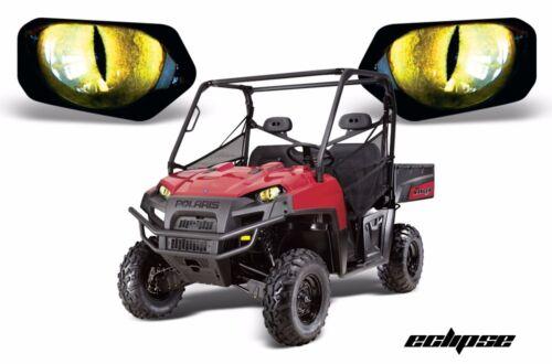 Headlight Eye Graphics Kit Decal Cover For Polaris Ranger 2009-2014 ECLIPSE YLLW