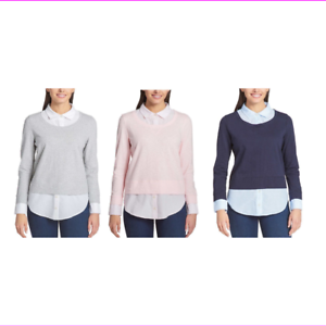 TOMMY-HILFIGER-Womens-Layered-Long-Sleeve-Shirt