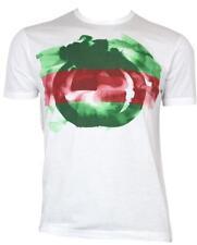 New Gucci White Cotton Modal Watercolor GG Print Crew Neck T Shirt LARGE