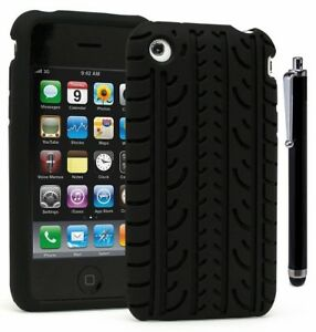 For-iPhone-3G-Slim-Fit-TPU-Flexible-Thin-Gel-Case-Cover-Black-Stylus
