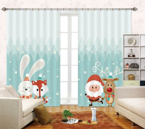 3D Rabbit & Fox Blockout Photo Curtain Printing Curtains Drapes Fabric Window AU