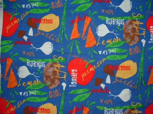 """/""""Funky Kitchen/"""" Cotton Fabric Vegetables /& Herbs Sold by the Half Yard BTHY"""