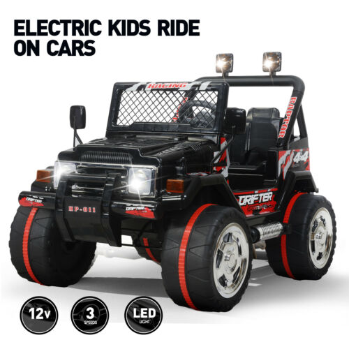 Black 12V Ride On Car Electric Power Kids Toys Jeep Remote Control 3 Speed Music