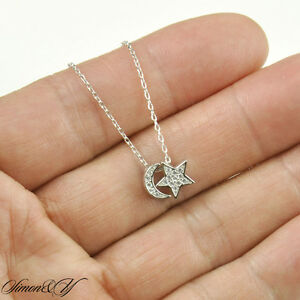 Sterling silver 925 cz half moon star pendant necklace rhodium image is loading sterling silver 925 cz half moon star pendant aloadofball Images
